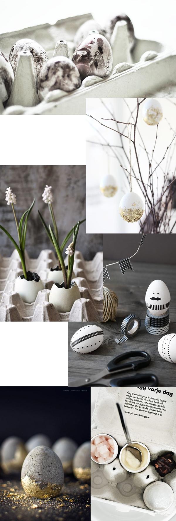 påskpynt, diy påsk, betongägg, påskris, marmorera ägg, påskdukning